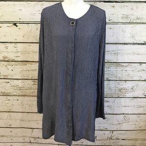 MICHAEL BLAIR NY blouse tunic navy/white Size XL